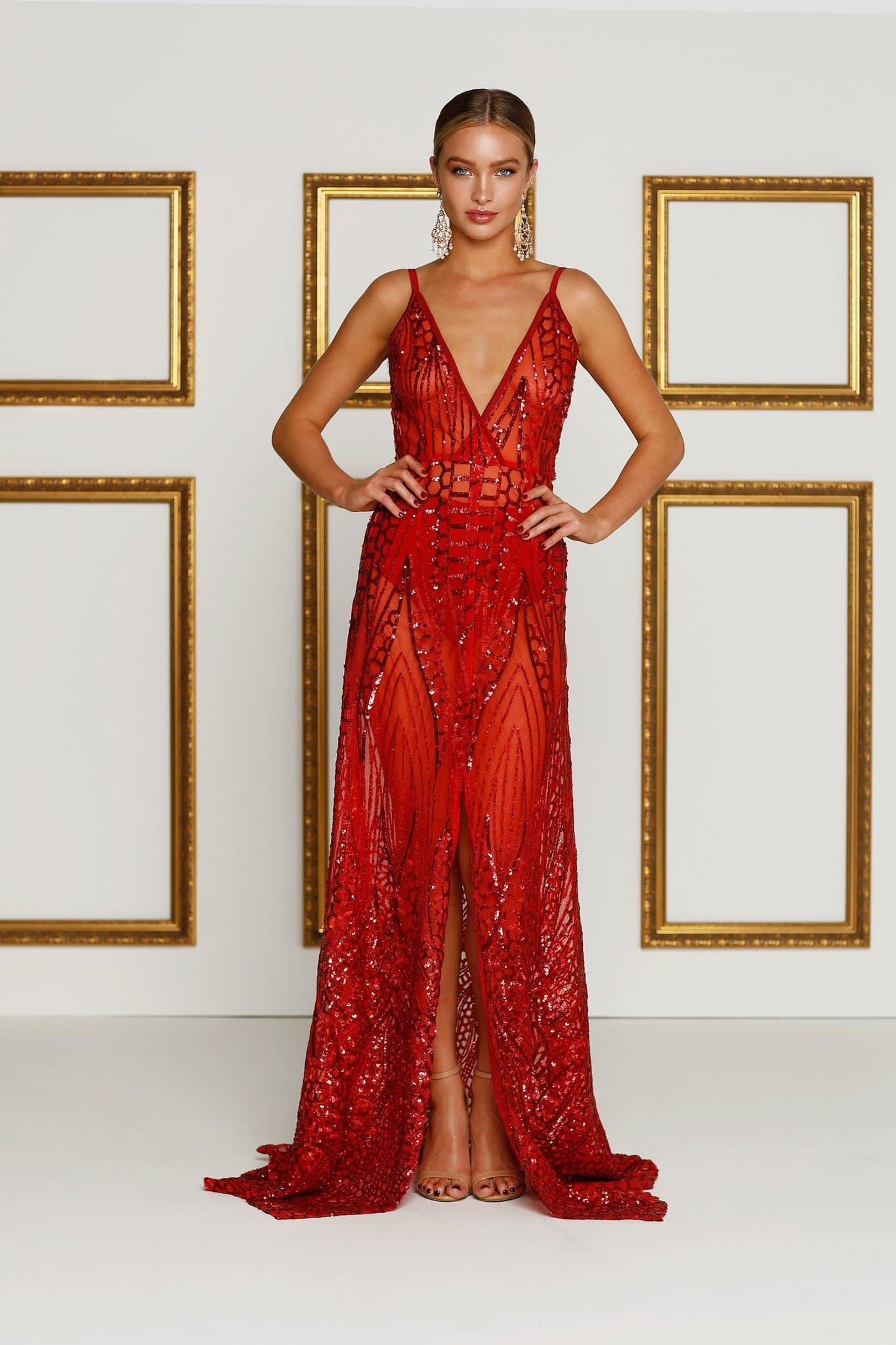 2c2c824eabf Cristal - Red Sequin Sheer Mesh Gown with Open Back and Side Slit ...