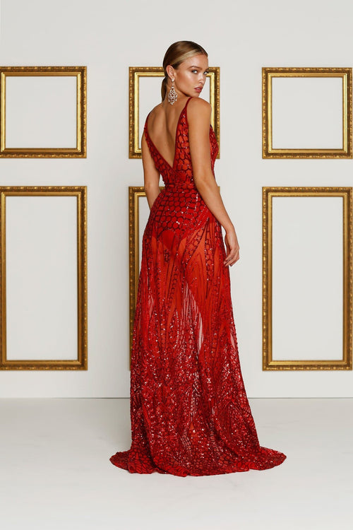 sheer red full length gown embellished with sequins, lined at the bust, front centre split, deep v neck and comes with underwear