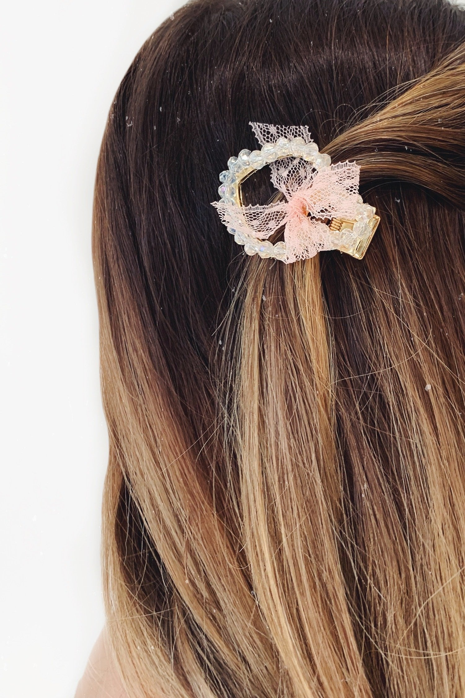 Crystal Heart Hair Clip with Light Pink Ribbon Detailing