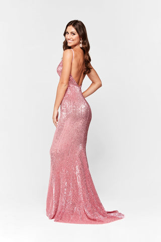 A&N Cynthia - Dusty Pink Dress with V Neck and Low Back