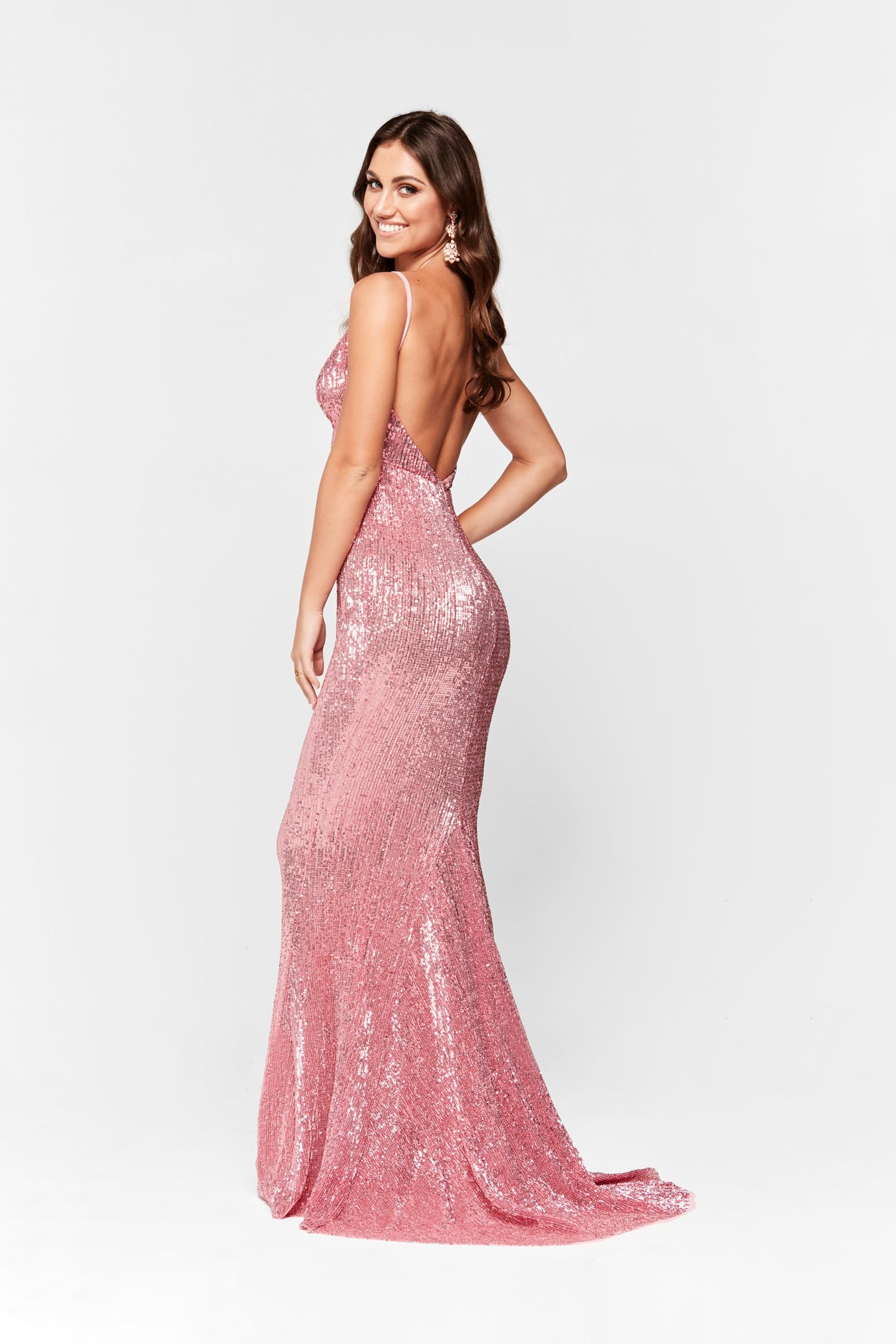 Cynthia Dress - Dusty Pink Sparkling V Neck Low Back Maxi Prom Gown ...
