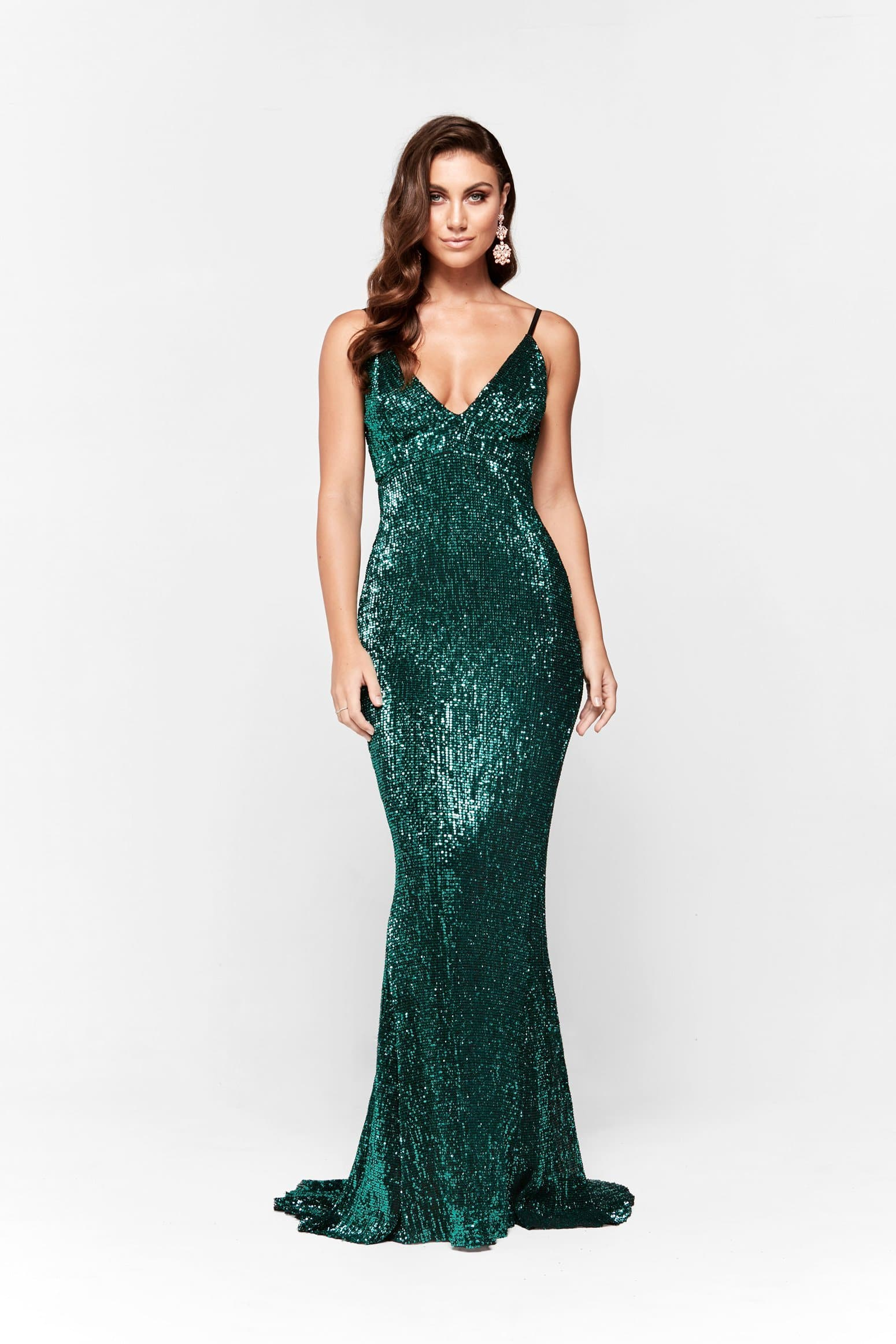 Cynthia Formal Dress -Emerald Sparkling V Neck Low Back Maxi Prom Gown