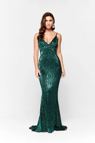 A&N Cynthia- Sparkling V Neck Dress with Low Back in Emerald
