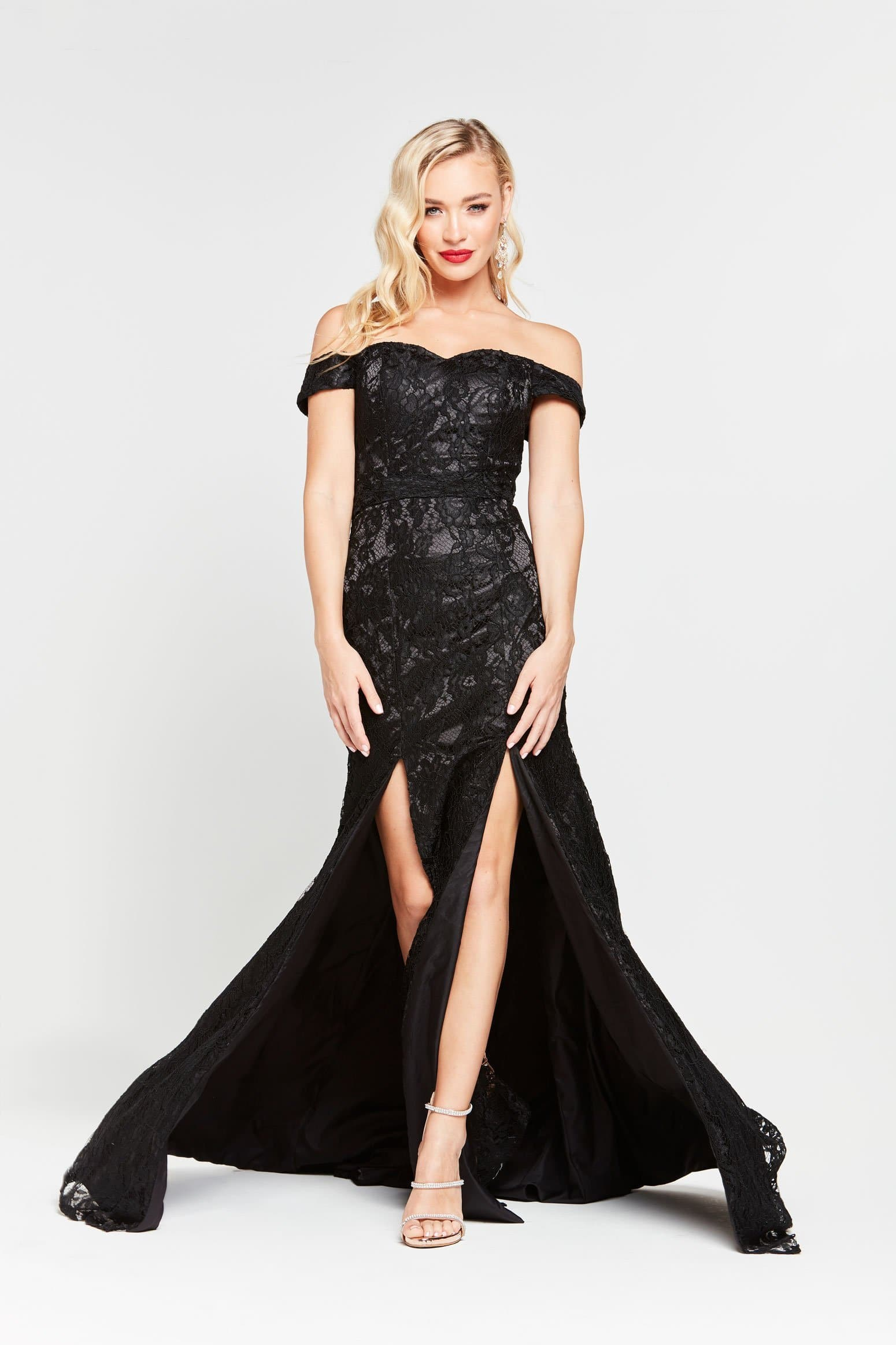 A&N Dahlia - Black Lace Off Shoulder Gown with Two Splits