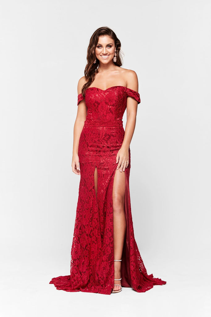 Dahlia Formal Gown -Deep Red Lace Off Shoulder Two Split Mermaid ...