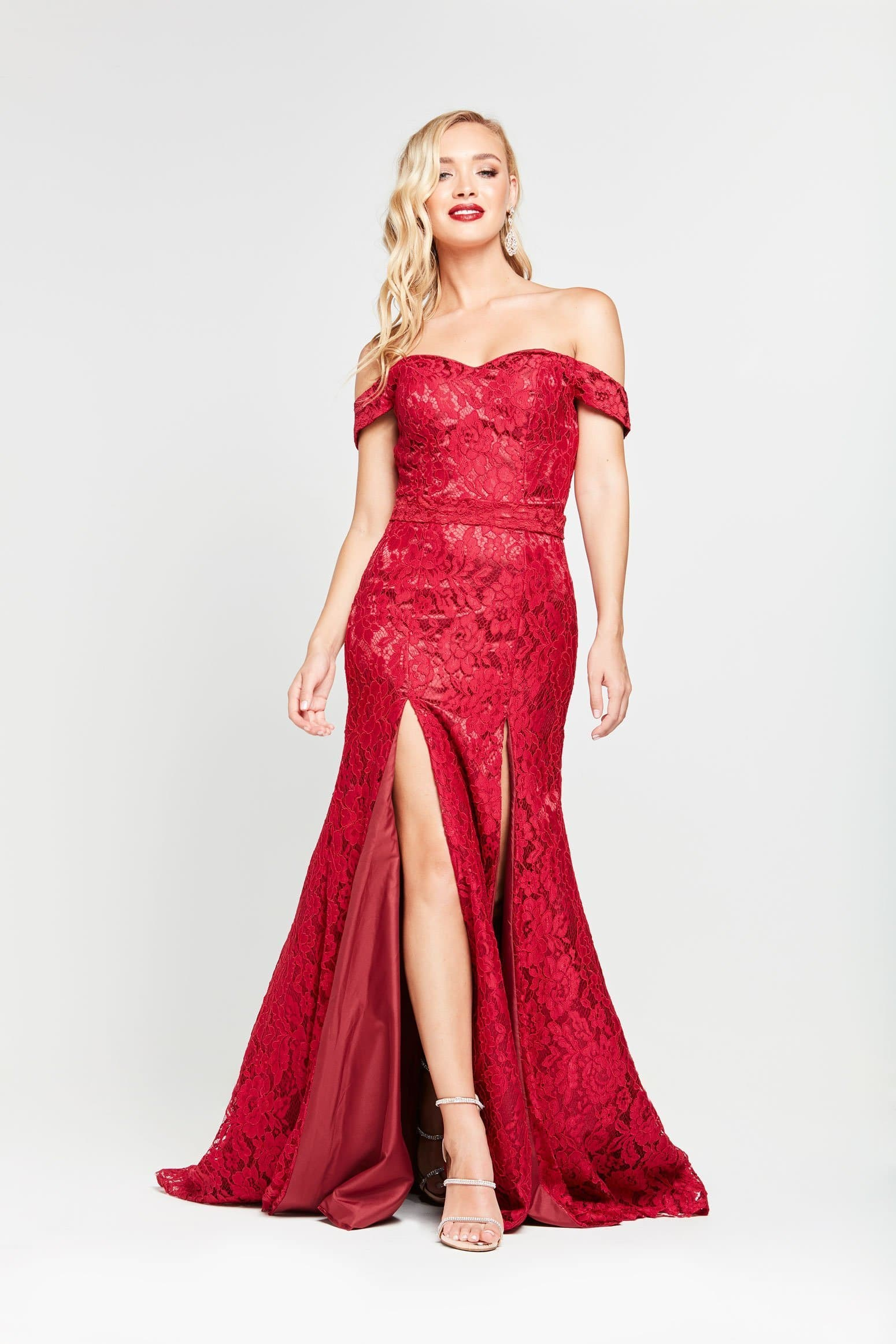 A&N Dahlia- Deep Red Lace Off Shoulder Gown with Two Splits