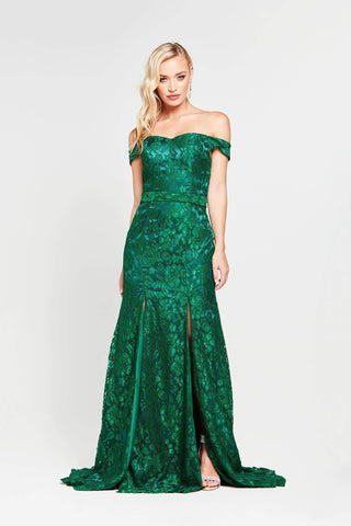 A&N Dahlia - Emerald Lace Off Shoulder Formal Gown with Two Slits