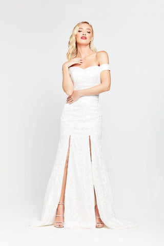 A&N Dahlia - White Off the Shoulder Lace Gown with Two Slits