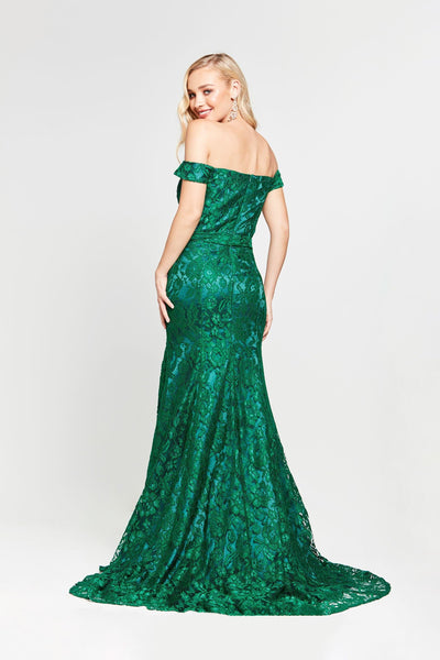Dahlia Formal Gown - Emerald Lace Off Shoulder Two Split Mermaid Dress