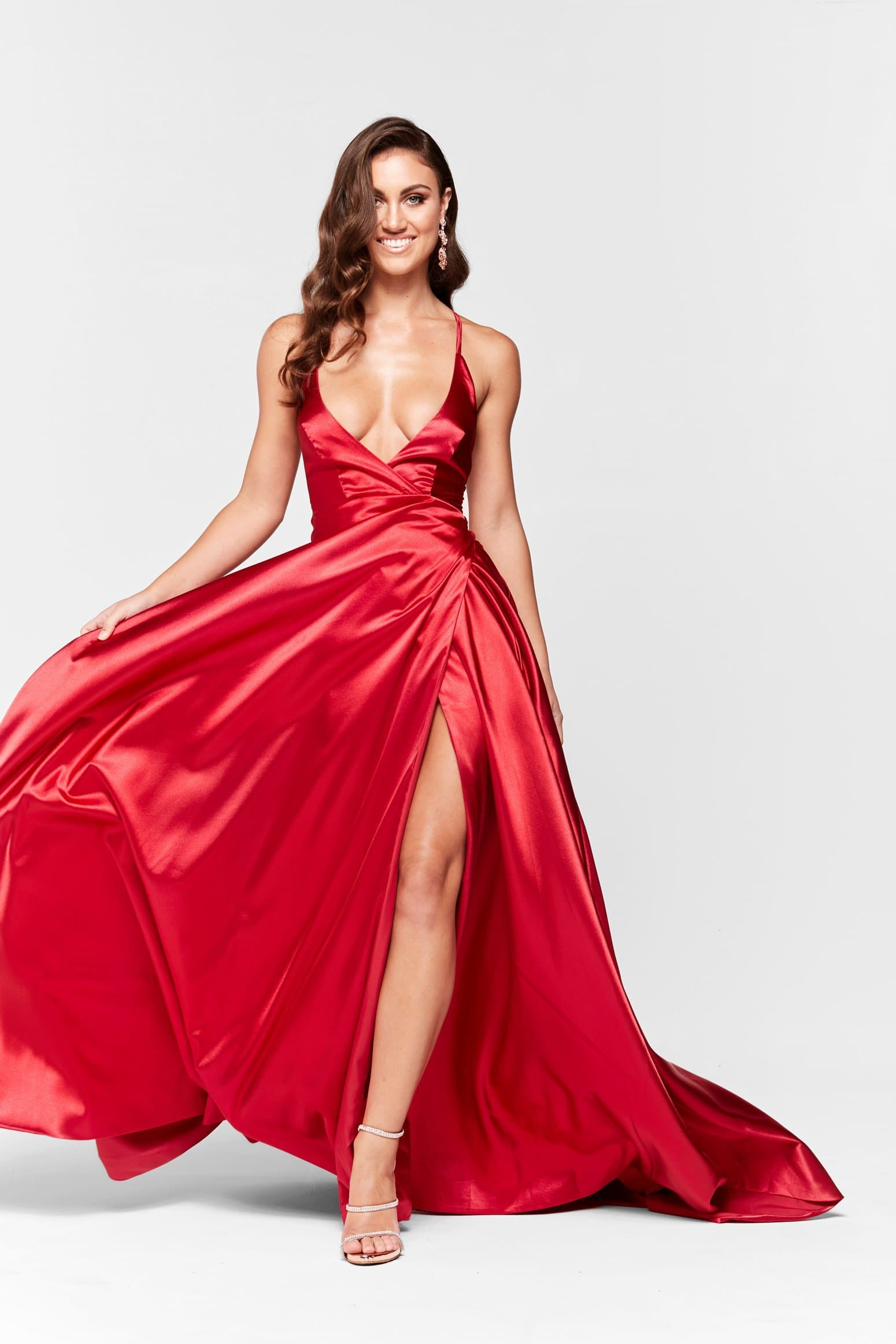 A&N Dimah - Deep Red Satin Gown with Lace Up Back and Front Slit ...