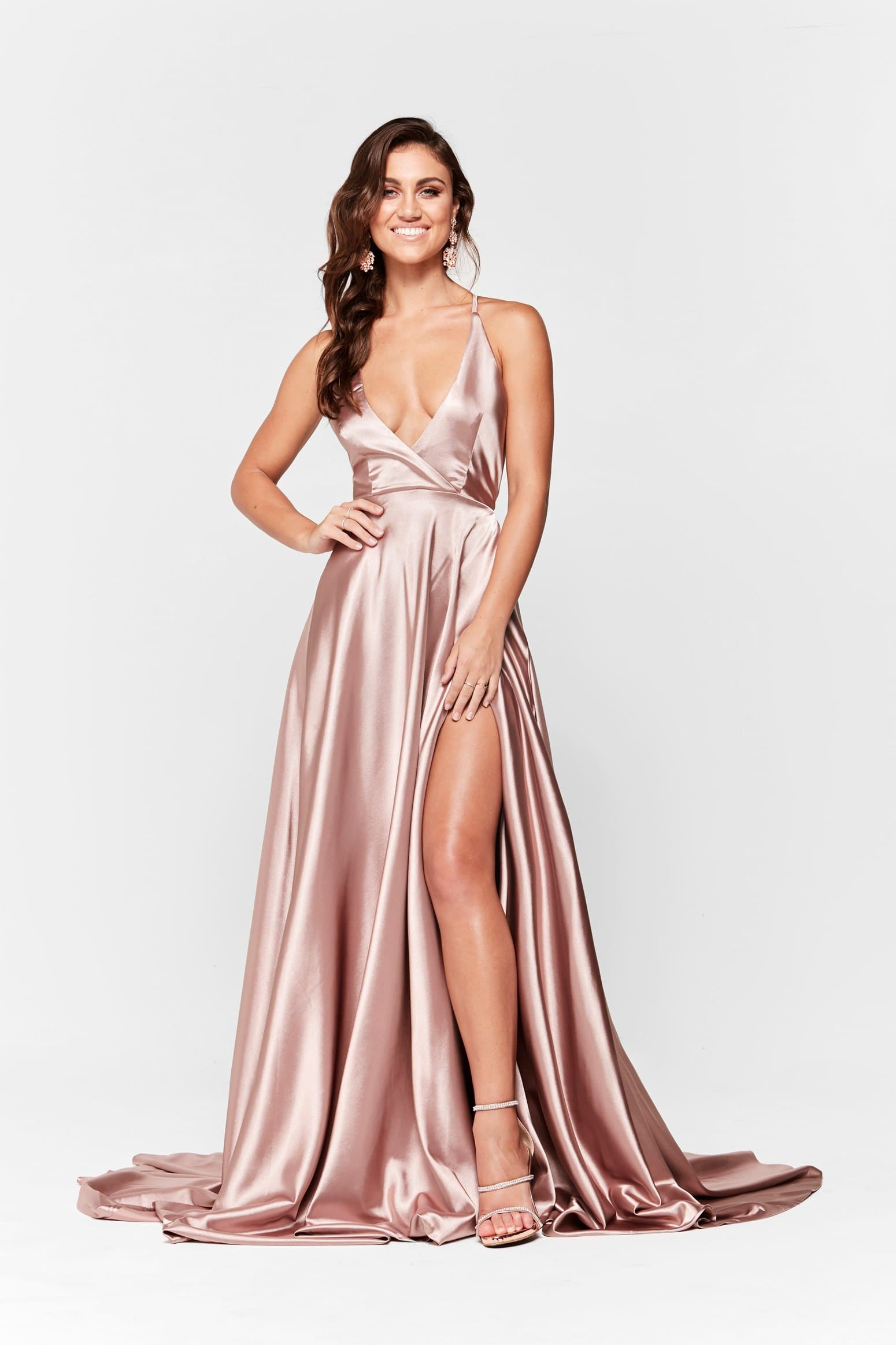 A&N Dimah - Mauve Satin Gown with Lace Up Back and Side Slit