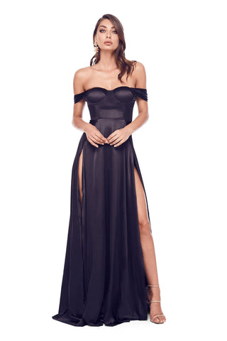 Dominikia Satin Gown - Black