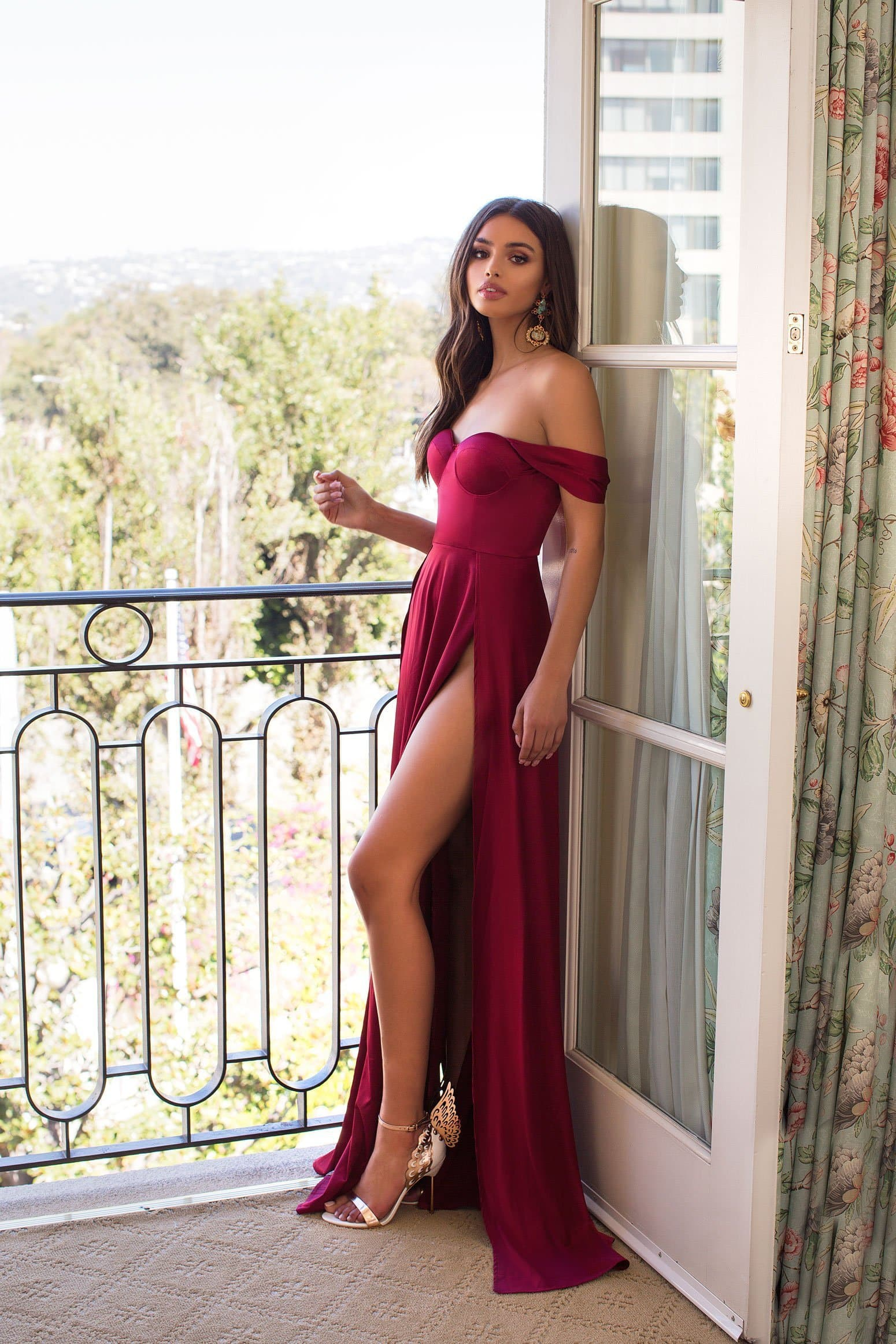 Dominikia - Deep Red Satin Gown with Off-Shoulder Straps & High Slits