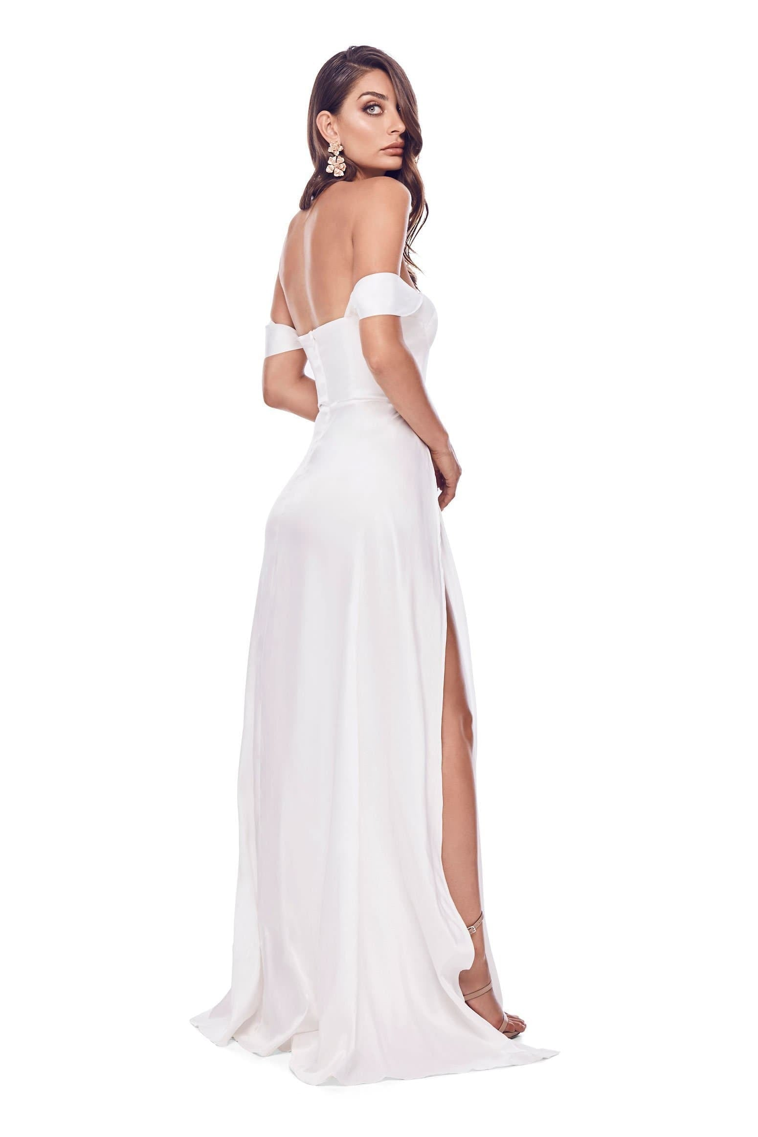 Dominikia - White Satin Gown with Off-Shoulder Drapes & Side Slits
