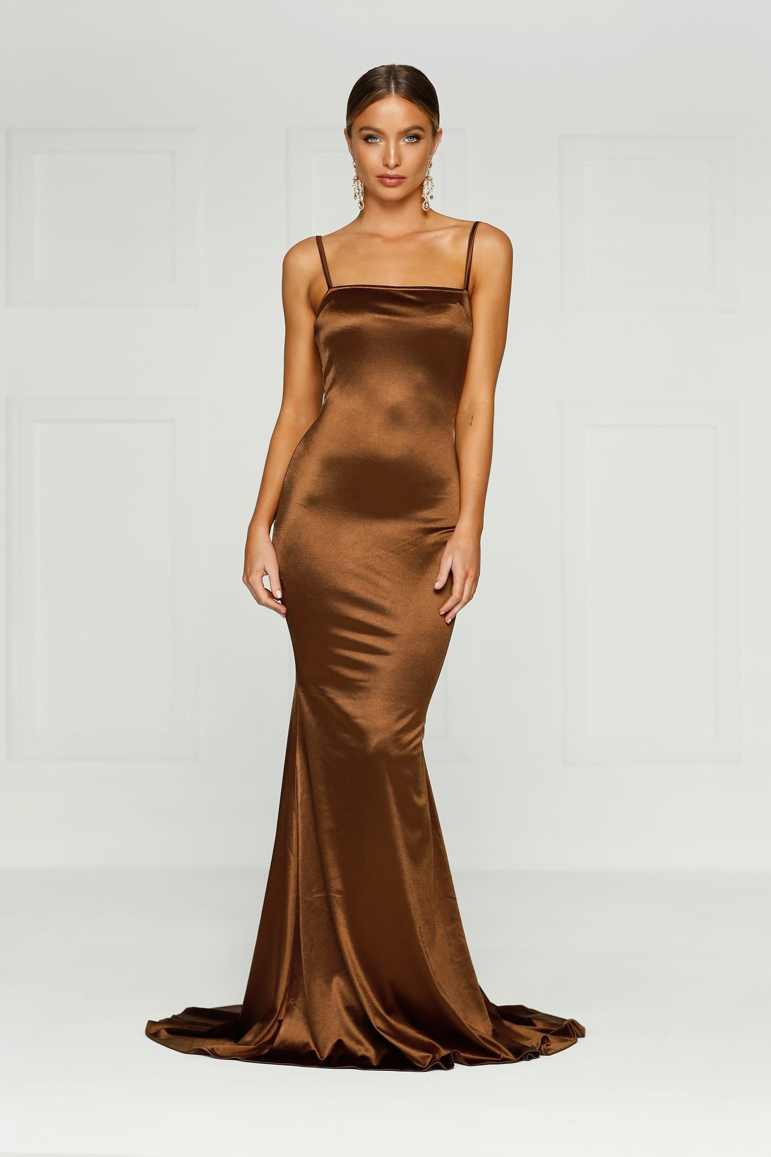 f1306fcab4f0 Lesiya Gown - Chocolate Brown Tight Satin Mermaid Silhouette with ...