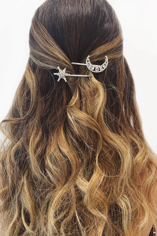 Silver Moon Diamante Hair Pin