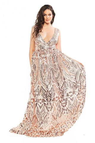 In stock - Curve Elisha Sequin Gown - Rose Gold