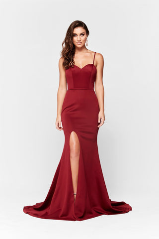 A&N Elizabeth - Deep Red Ponti Gown with Sweetheart Neckline
