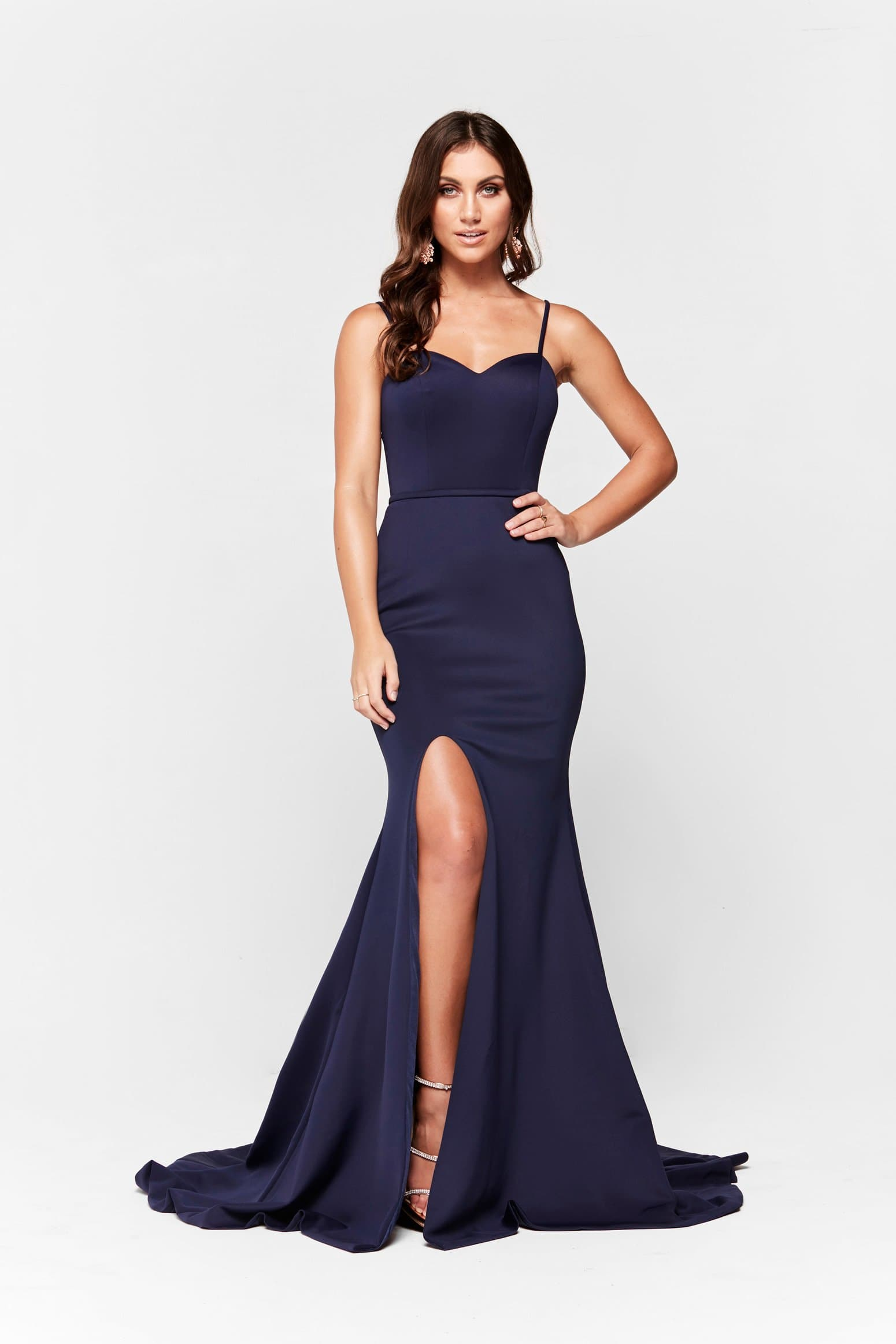 A&N Elizabeth - Navy Ponti Gown with Sweetheart Neckline and Slit