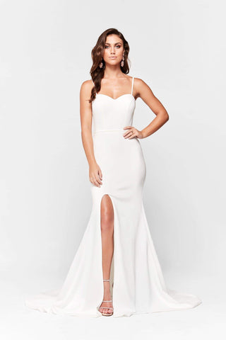 A&N Elizabeth - White Ponti Gown with Sweetheart Neckline and Slit