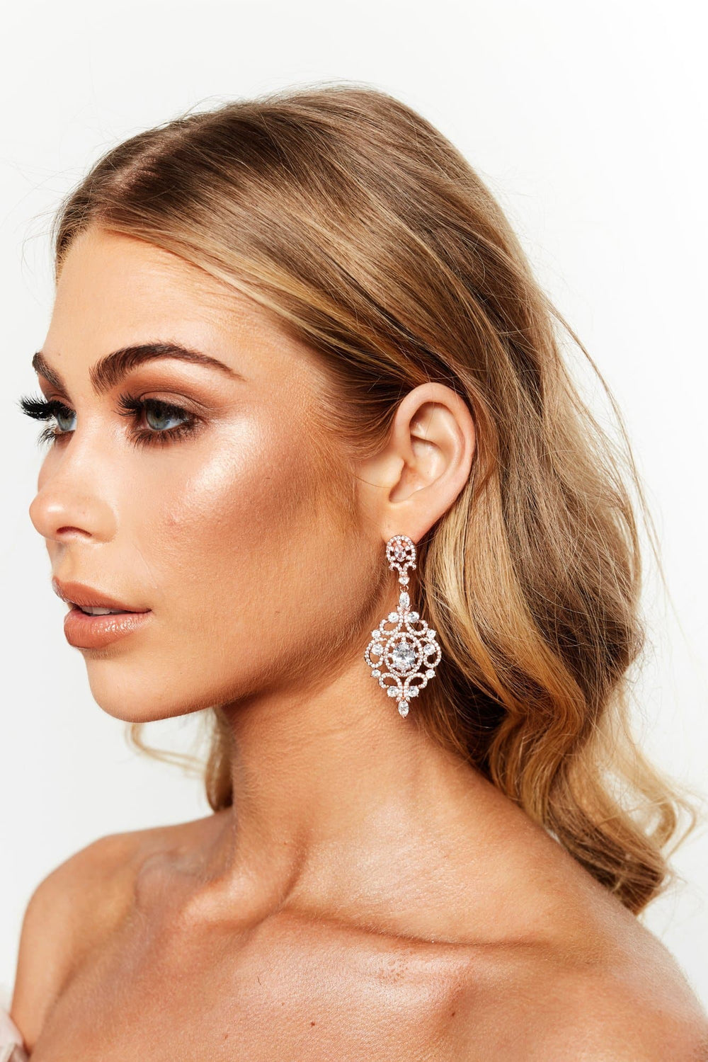 Glazori Ella Crystal Chandelier Earrings Rose Gold
