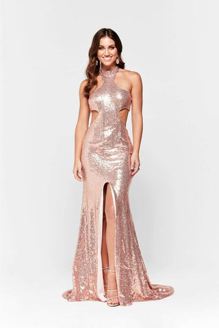In stock - Elsa Sequin Gown - Rose Gold