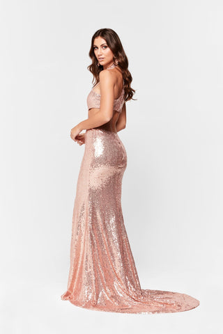 A&N Elsa Gown - Rose Gold Sequin Dress with Halter and Cut Out Sides