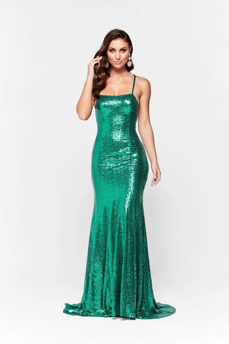 A&N Luxe Maia Shimmering Gown - Forest Green