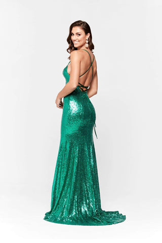 A&N Esmee - Emerald Sequin Gown with Square Neck and Lace up Back