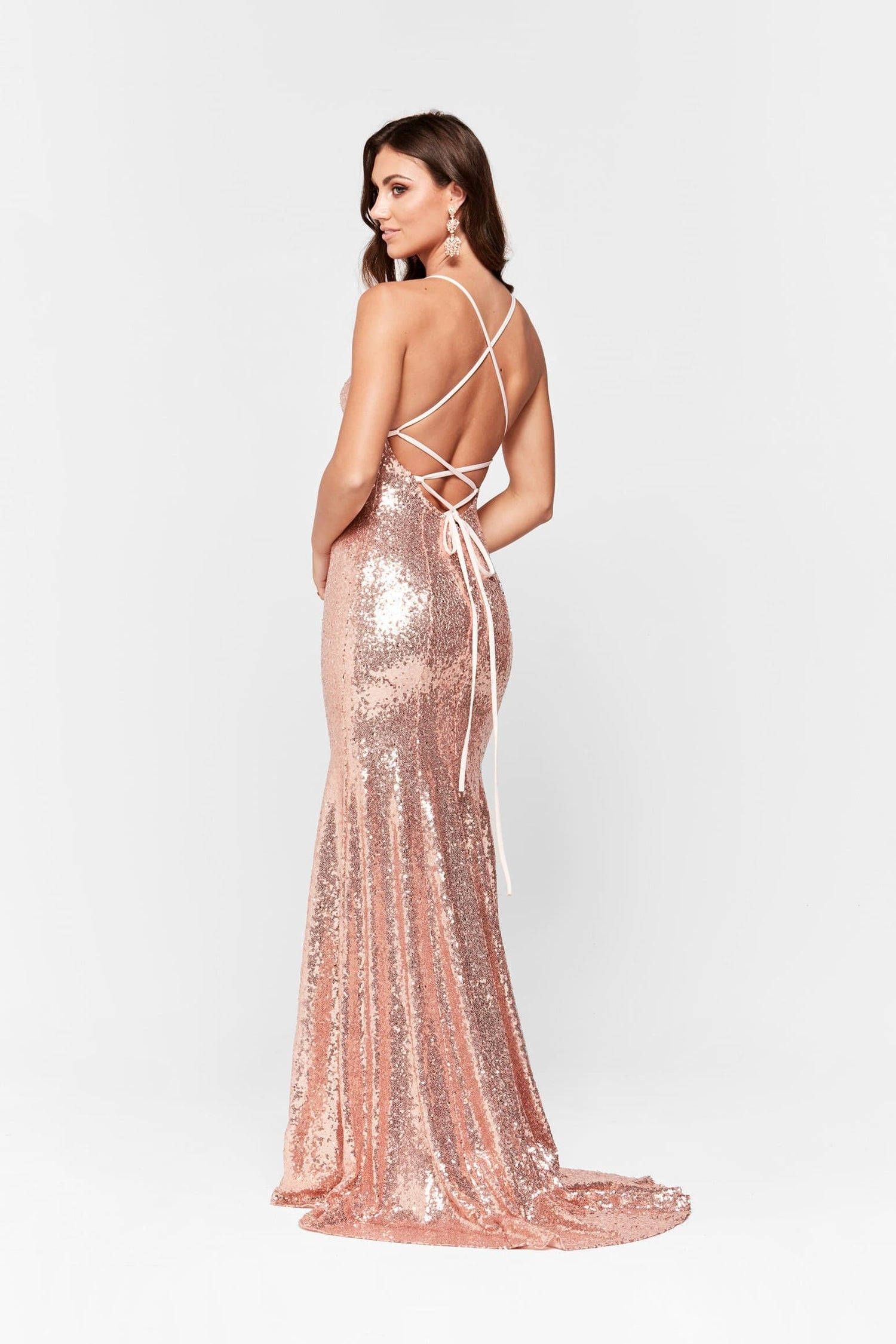 A&N Esmee - Rose Gold Sequin Gown with Lace Up Back and Square Neck
