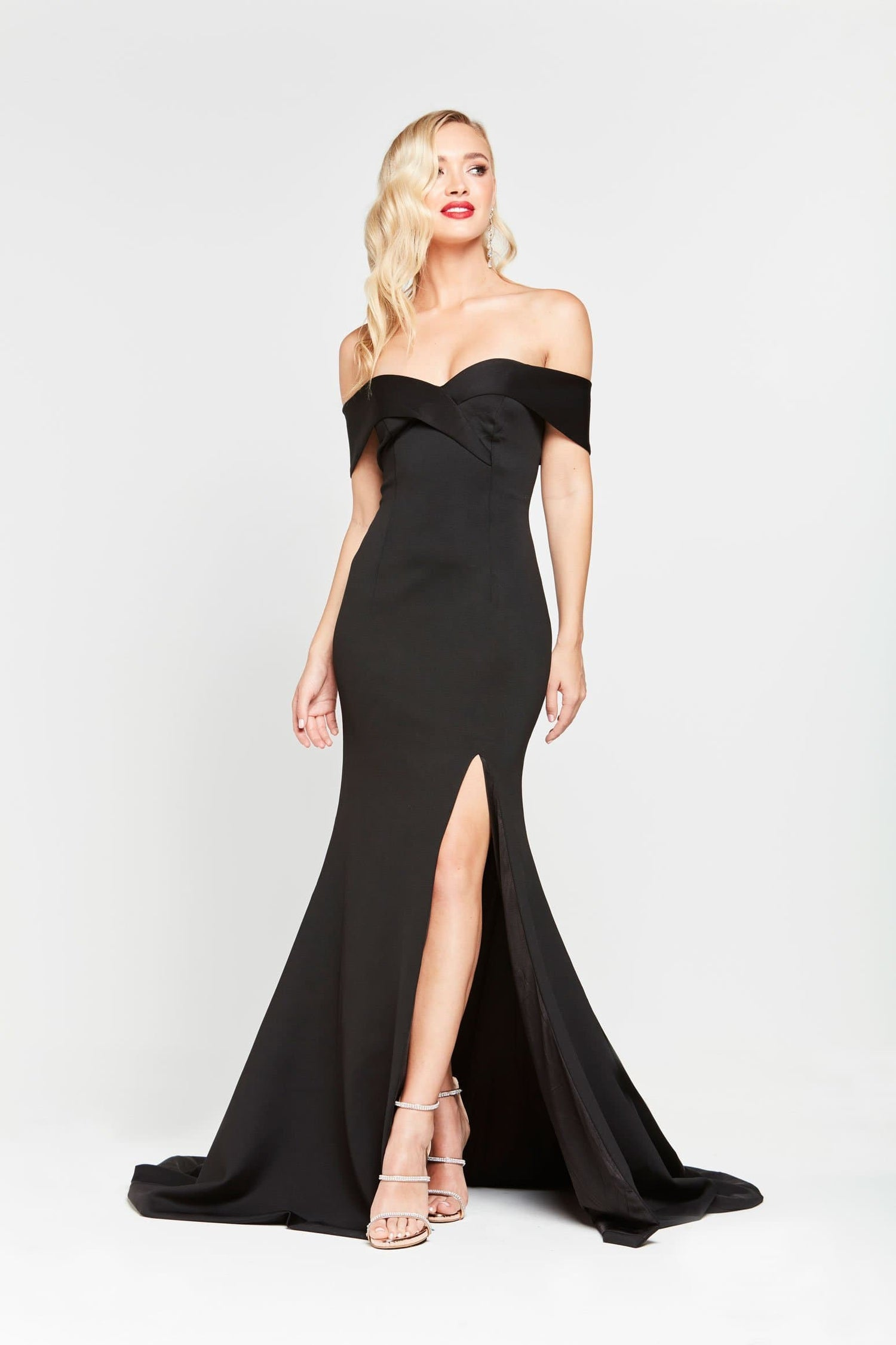 A&N Ester - Black Ponti Gown with Off Shoulder Straps and Front Slit