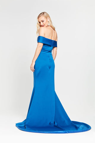 A&N Ester - Blue Ponti Off Shoulder Gown with Front Slit