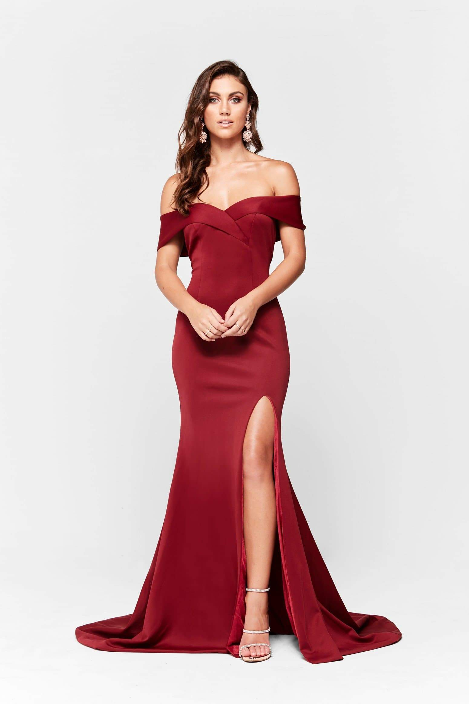 A&N Ester - Burgundy Ponti Off Shoulder Gown with Front Slit