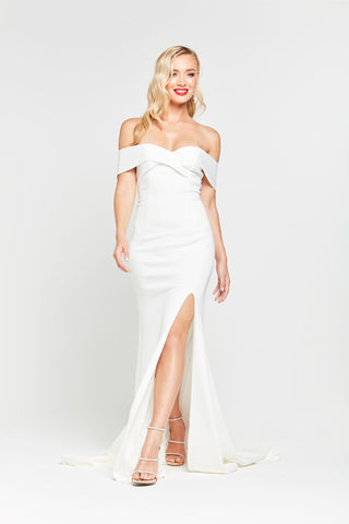 A&N Ester - White Ponti Off Shoulder Dress with Front Slit