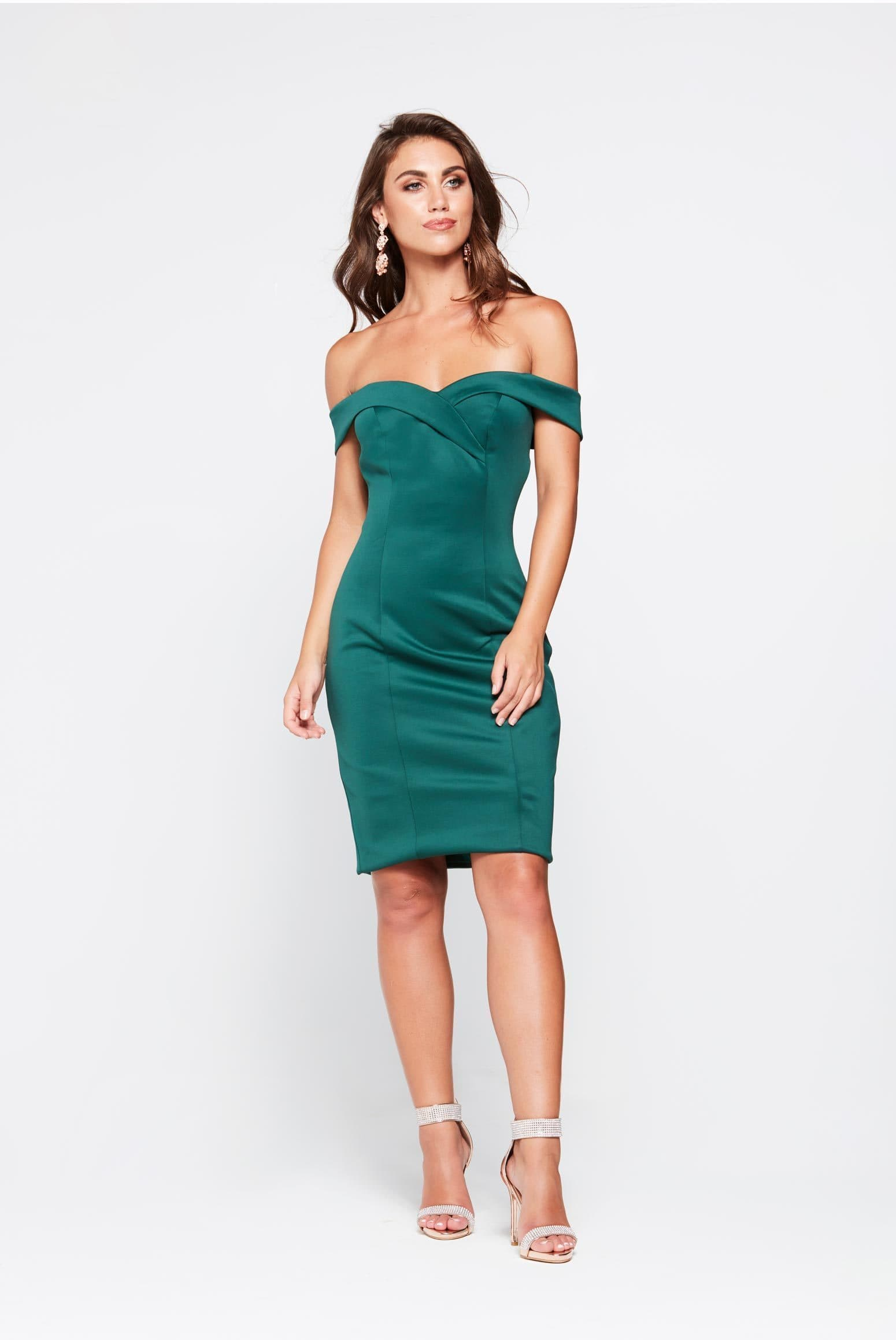 A&N Ester- Emerald Off Shoulder Cocktail Mini in Emerald