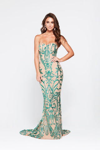 Evita Formal Gown - Emerald Glitter Strapless Sheer Mermaid Dress