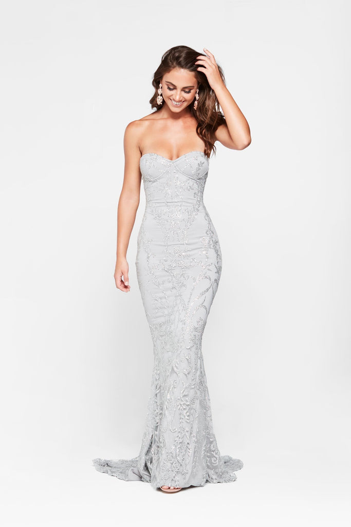 Evita Formal Gown - Silver Glitter Strapless Sheer Mermaid Dress ...