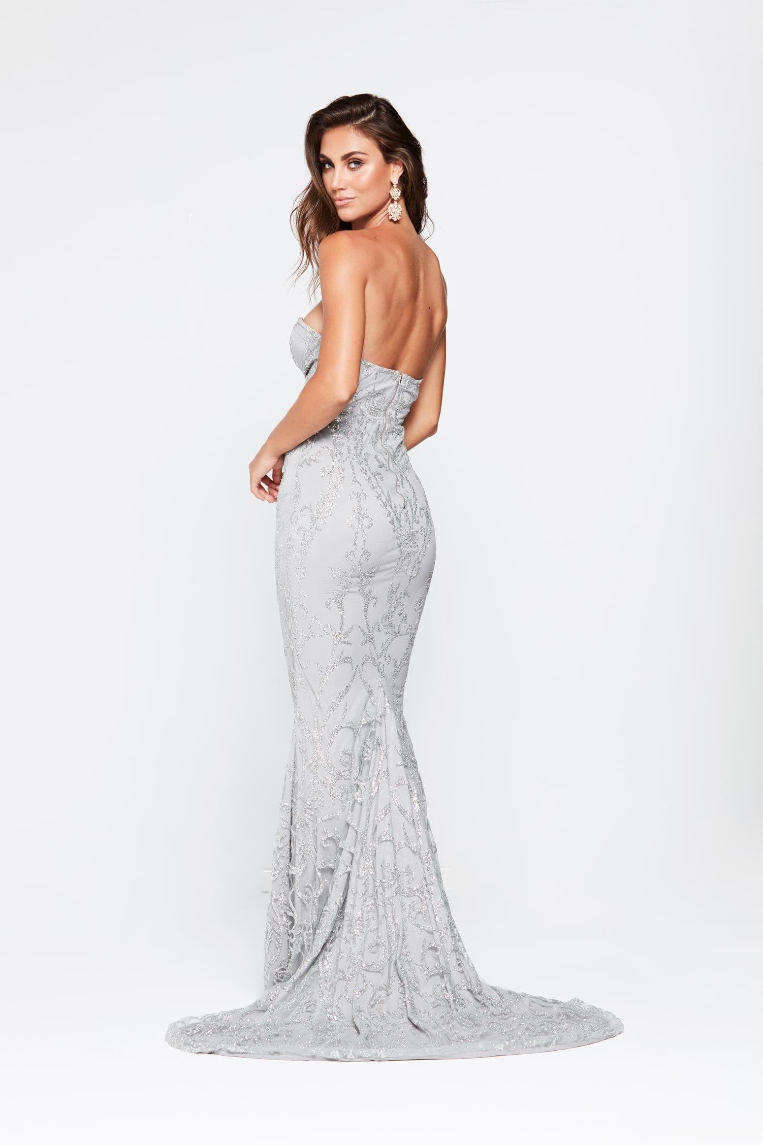 Evita Formal Gown - Silver Glitter Strapless Sheer Mermaid Dress