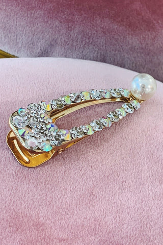 Iridescent Crystal Stone Small Hair Clip with Pearl Detailing