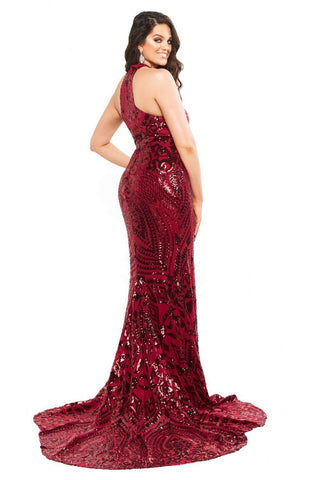 In stock - Curve Fabiana Sequin Gown - Burgundy