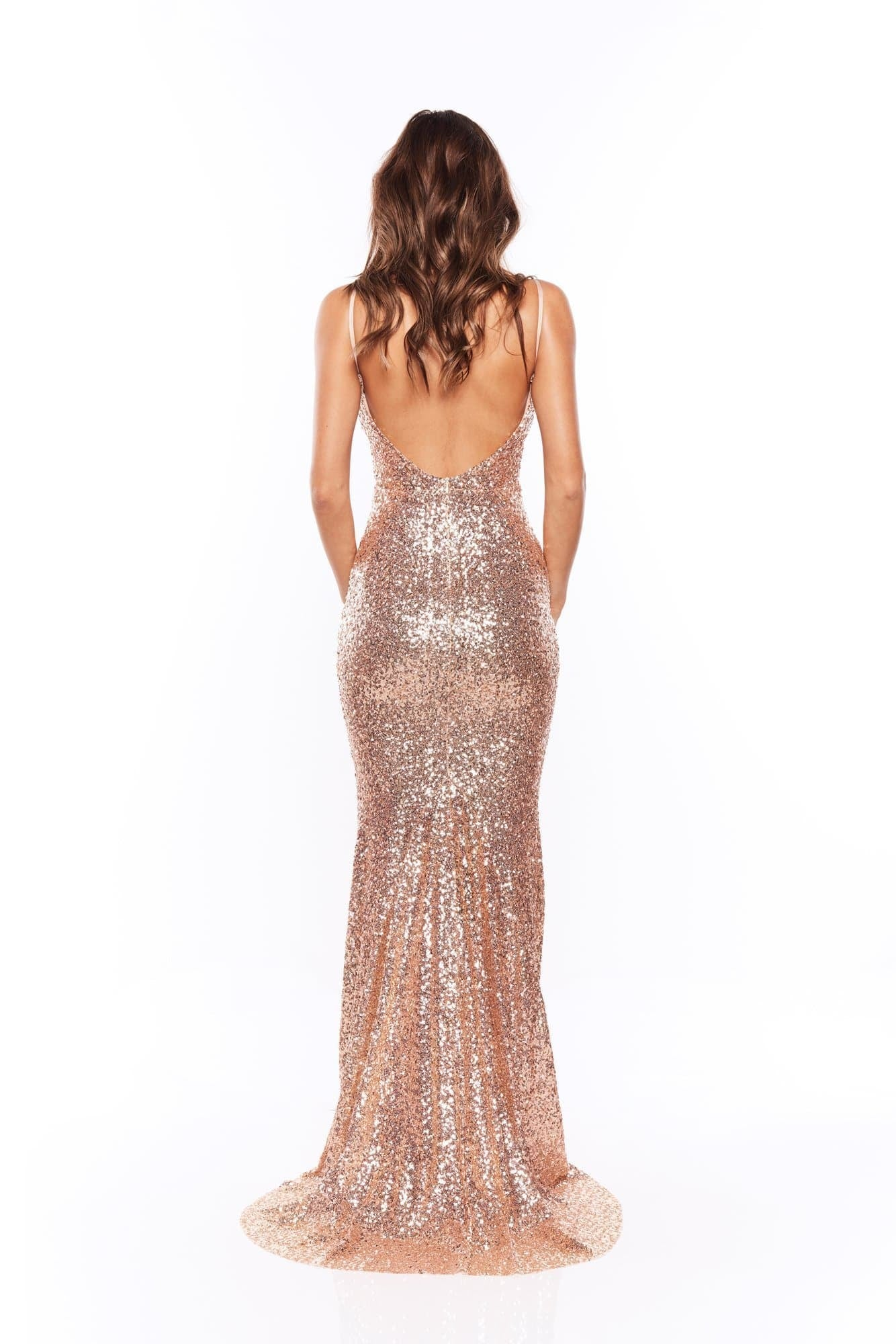 f6685df5ad247 ... Farah - Rose Pink Sequins Gown with Scoop Back ...