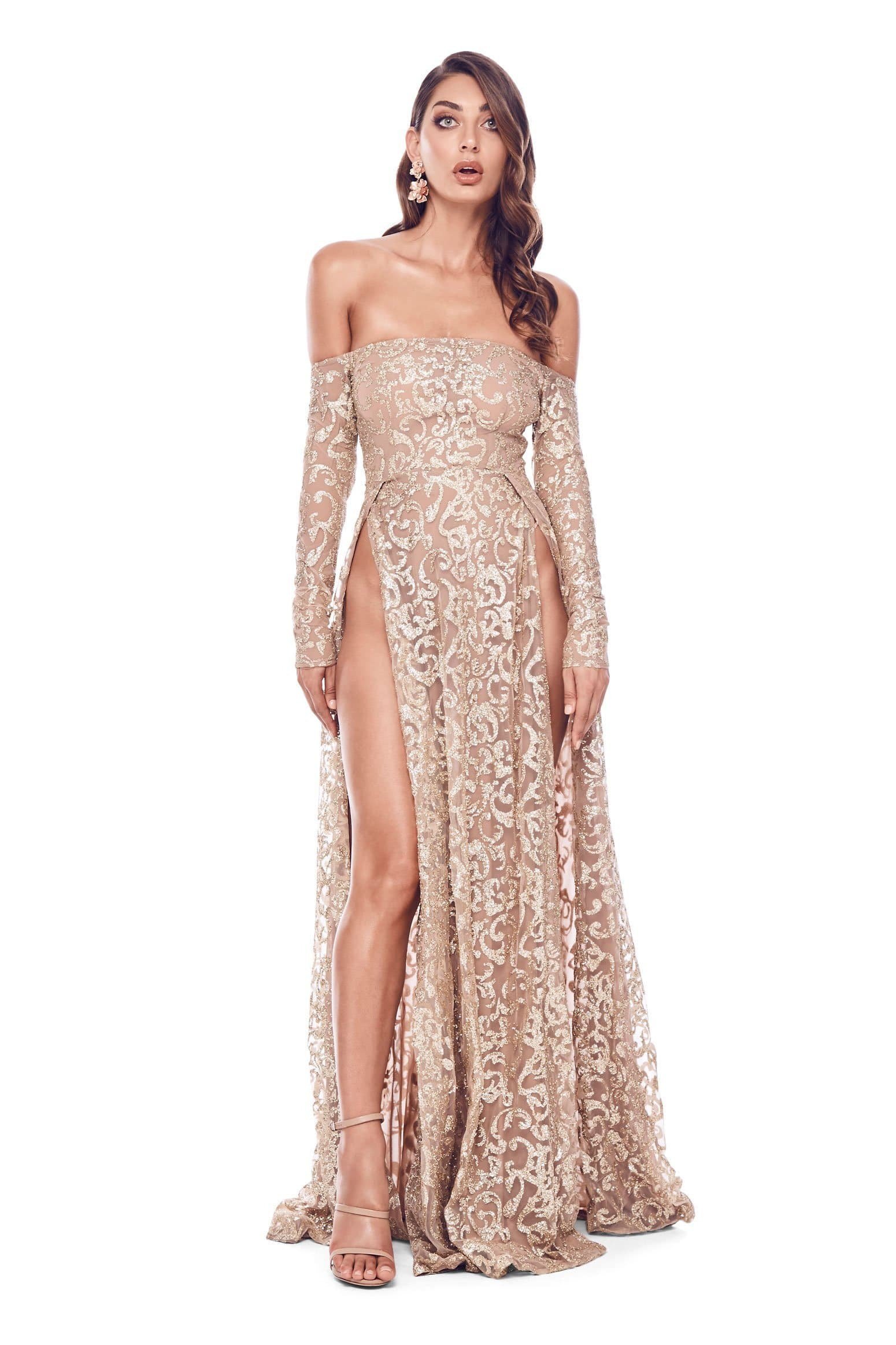 Flame - Gold Glitter Off-Shoulder Gown with Long Sleeves & Side Slit
