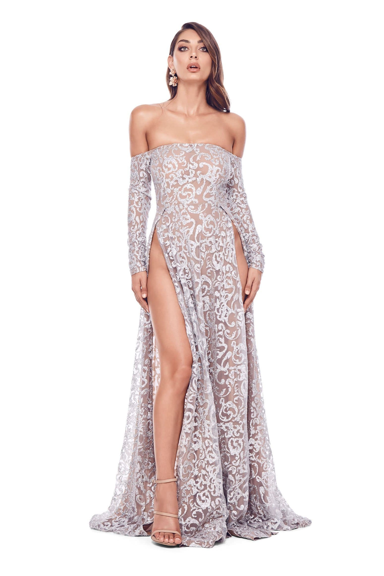 Flame - Silver Glitter Gown with Off-Shoulder Long Sleeves & Side Slit