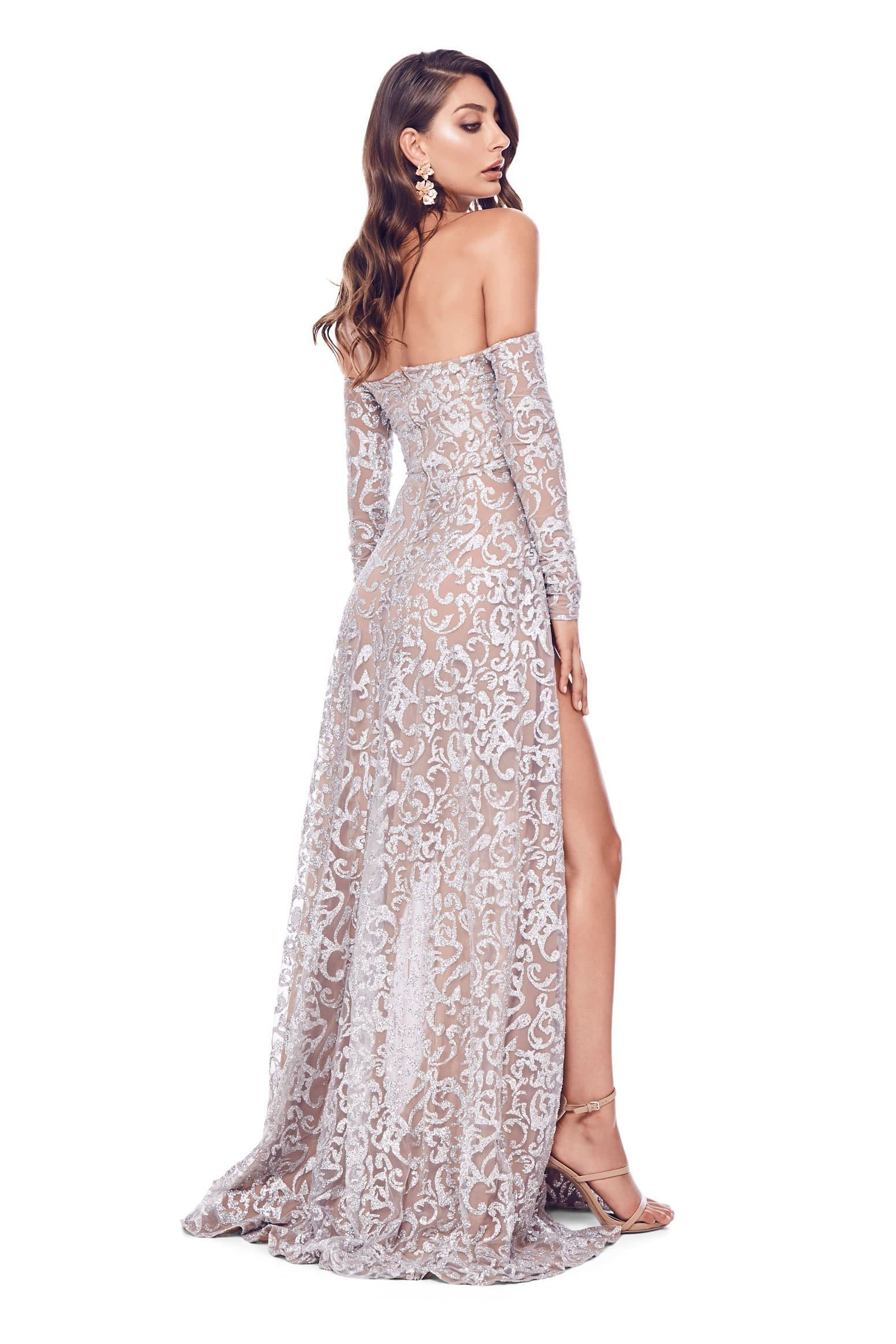 ed7ae19ccf09 Long Silver Sequin Dress - ShopStyle