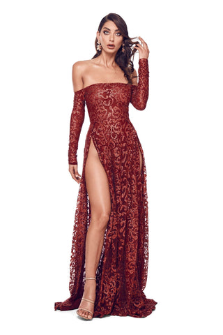 Flame - Wine Red Glitter Gown with Off-Shoulder Long Sleeves & Slit