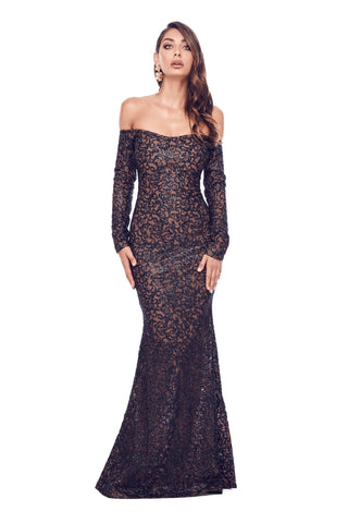 Fliora - Black Glitter Gown with Long Off-Shoulder Sleeves