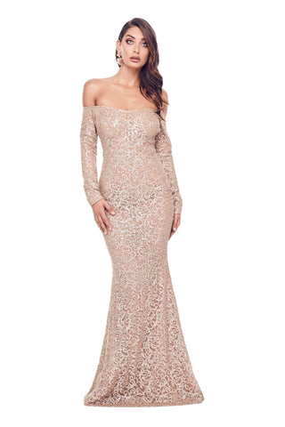 Fliora - Gold Glitter Gown with Long Off-Shoulder Sleeves