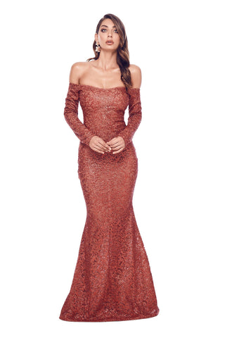 Fliora - Wine Red Glitter Gown with Long Off-Shoulder Sleeves