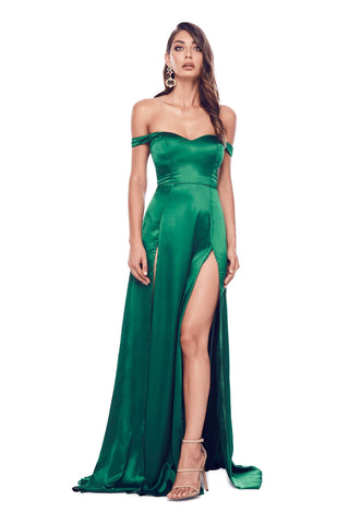 Florentina - Emerald Satin Gown with Sweetheart Neckline & Side Slit