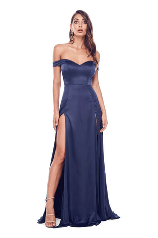 Florentina - Navy Satin Gown with Sweetheart Neckline & Side Slits